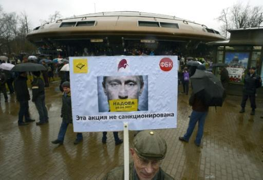 Dozens detained as Russian protesters say 'sick of Putin'