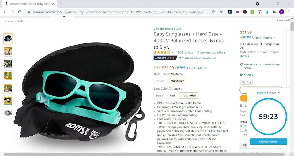 RebateKey was offering a rebate for 82% back on these baby sunglasses, which makes the price $3.99 after rebate. The RebateKey Chrome extension is at the bottom righthand corner.