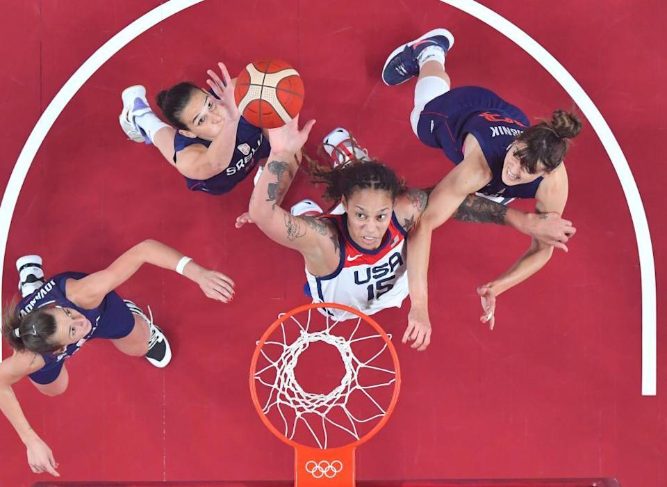 Brittney Griner (2nd right) during the women's basketball semi-final.