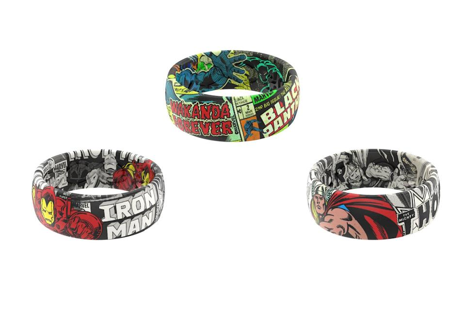 """<p>Popular amongst frontline workers and first responders, Groove Life has partnered with Marvel so you can choose from an array of <a href=""""https://groovelife.com/collections/marvel-complete-collection"""" rel=""""nofollow noopener"""" target=""""_blank"""" data-ylk=""""slk:Avengers-themed silicone rings"""" class=""""link rapid-noclick-resp"""">Avengers-themed silicone rings</a> for the real superhero in your life.</p> <p><strong>$39.95, <a href=""""https://groovelife.com/collections/marvel-complete-collection"""" rel=""""nofollow noopener"""" target=""""_blank"""" data-ylk=""""slk:groovelife.com"""" class=""""link rapid-noclick-resp"""">groovelife.com</a></strong></p>"""