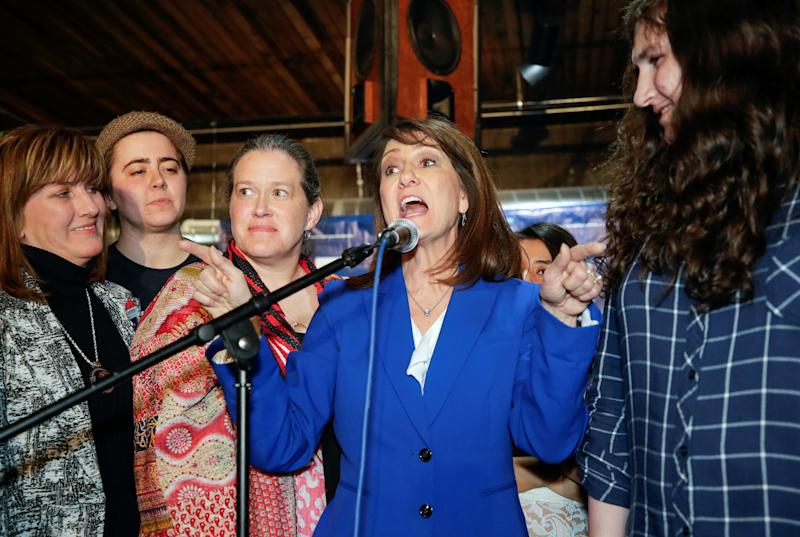 Illinois' 3rd Congressional District candidate Marie Newman speaks at her election night rally at the Marz Community Brewing Company in Chicago, Illinois, U.S. March 20, 2018. (Kamil Krzaczynski/Reuters)