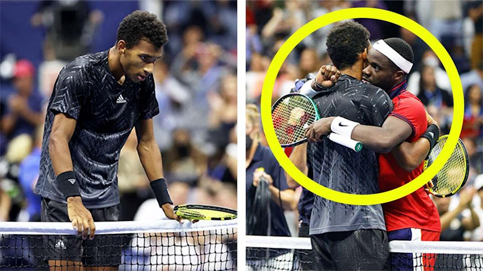 Felix Auger-Aliassime (pictured left) offered some kind words for hiis friend and opponent Frances Tiafoe (pictured right) after defeating him at the US Open. (Getty Images)