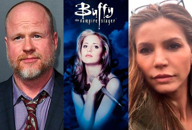 Joss Whedon (AP Photo, Jordan Strauss, Gtres), cartel de Buffy, cazavampiros, Charisma Carpenter (Instagram/karazma)