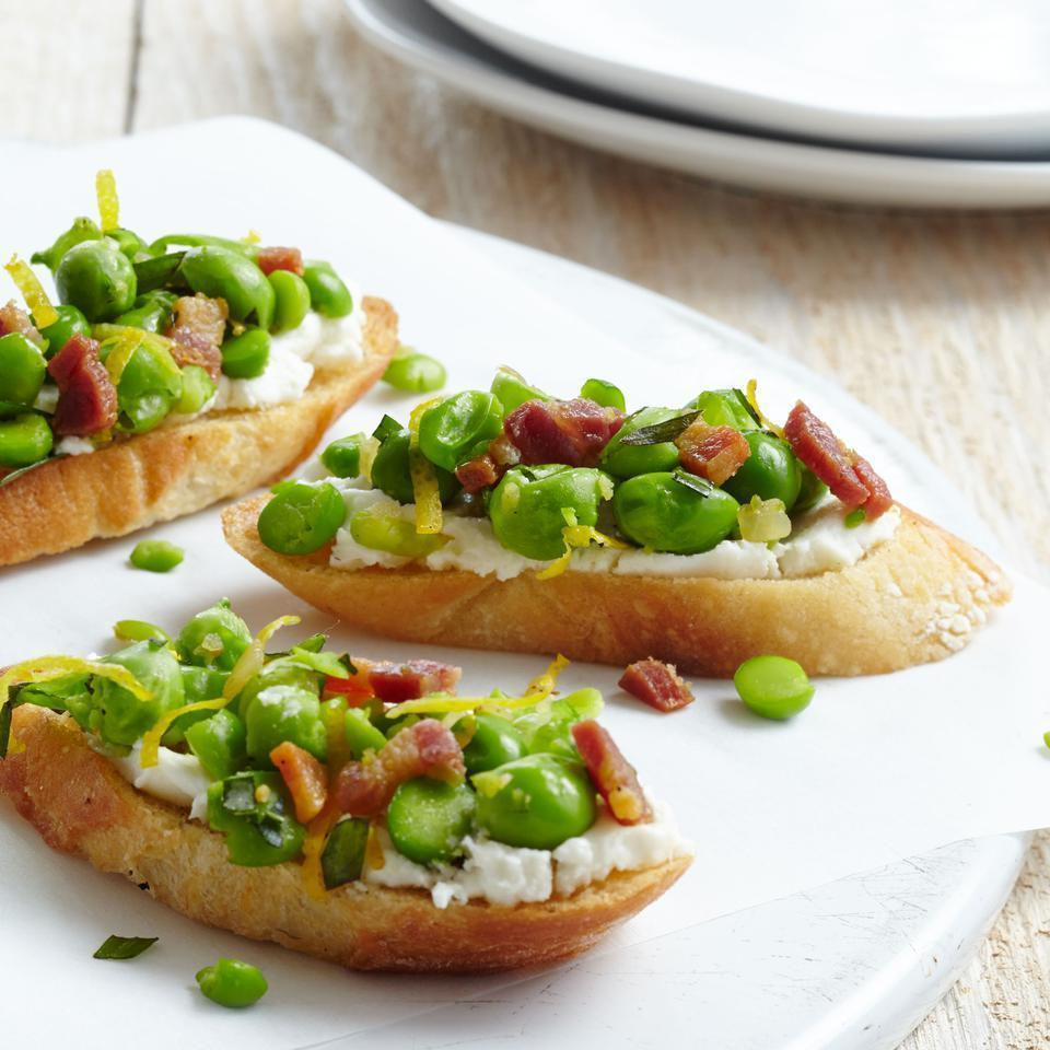 <p>Up your healthy appetizer game and make this veggie-topped crostini recipe instead of go-to bruschetta. If you can't find tarragon, any soft herb, such as basil or dill, works well too.</p>