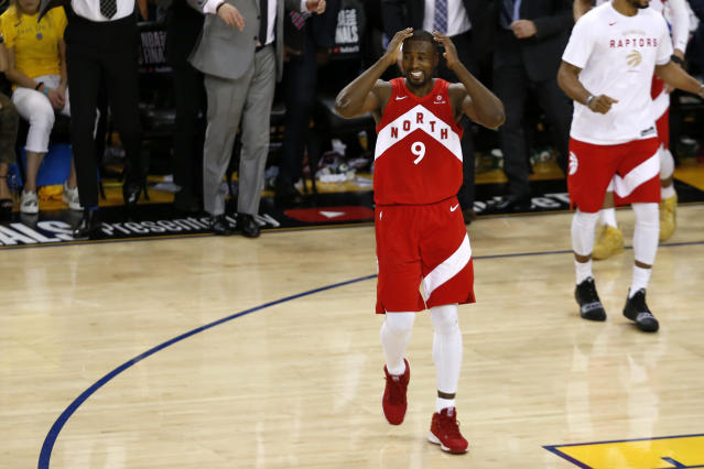 Serge Ibaka #9 of the Toronto Raptors celebrates his teams victory over the Golden State Warriors to win Game Six of the 2019 NBA Finals at ORACLE Arena on June 13, 2019 in Oakland, California. (Photo by Lachlan Cunningham/Getty Images)