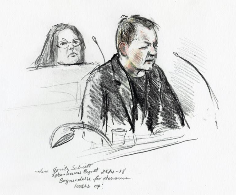 Peter Madsen in a court  drawing by Anne Gyrite Schutt made available by Danish news agency Ritzau SCANPIX