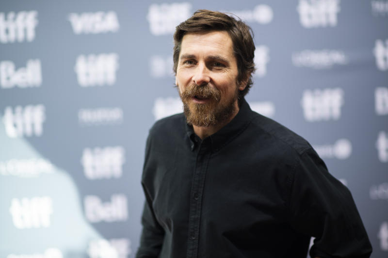 """Actor Christian Bale attends a press conference for """"Ford v Ferrari"""" on day six of the Toronto International Film Festival at the TIFF Bell Lightbox on Tuesday, Sept. 10, 2019, in Toronto. (Photo by Arthur Mola/Invision/AP)"""