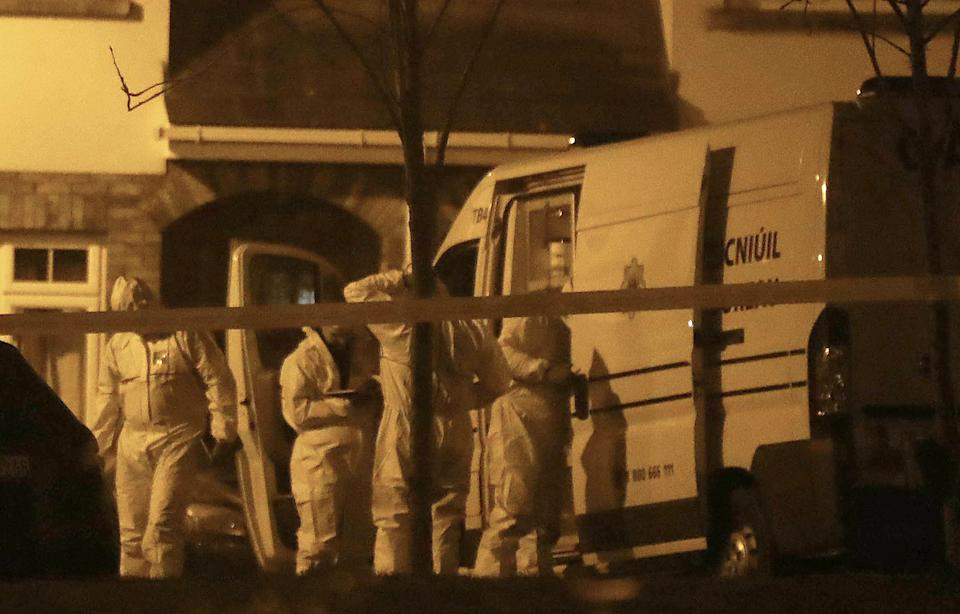 The children's mother was taken to hospital after the gruesome discovery. Pictured are forensic police at the scene.