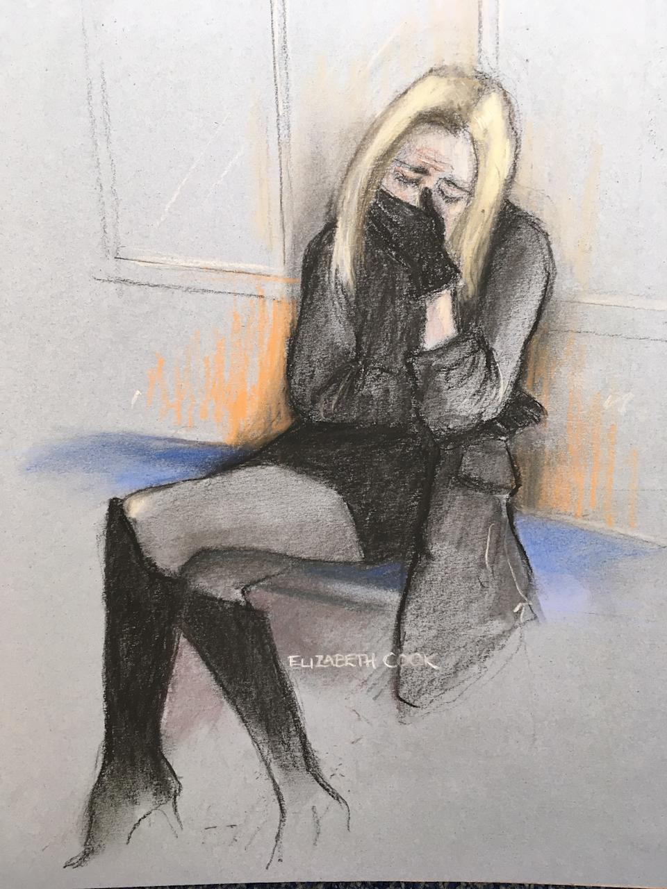 Court artist sketch by Elizabeth Cook of TV presenter Caroline Flack appearing at Highbury Corner Magistrates' Court where the Love Island presenter plead not guilty to assaulting her boyfriend Lewis Burton. (PA)