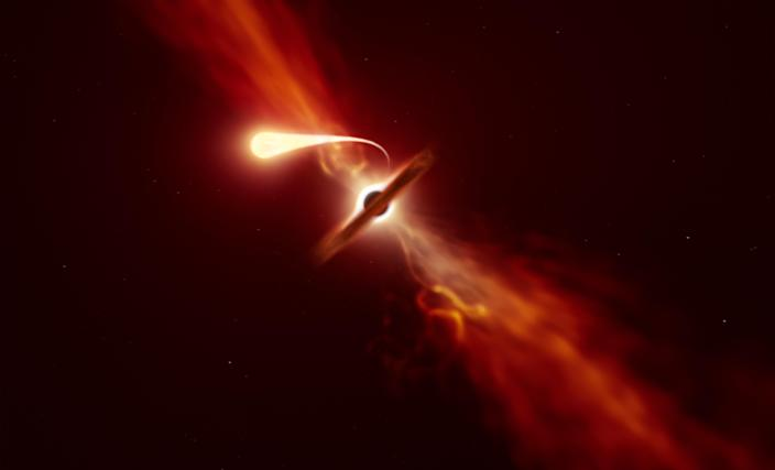 "Researchers found that when a star is ""spaghettified"" a blast of material is launched outwards (ESO)"