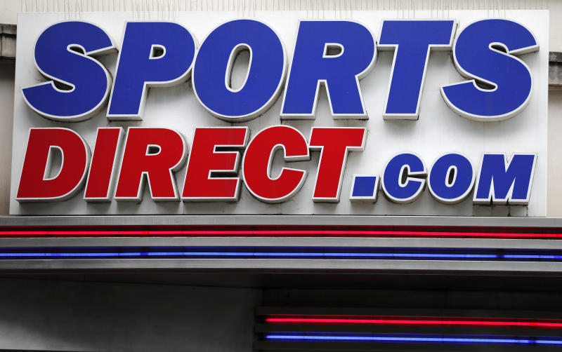 The British retailer Sports Direct store logo at Oxford Street in London, Friday, Aug. 10, 2018. British retailer Sports Direct said Friday that it has bought struggling department store chain House of Fraser, just hours after the 169-year-old business went into administration. (AP Photo/Frank Augstein)