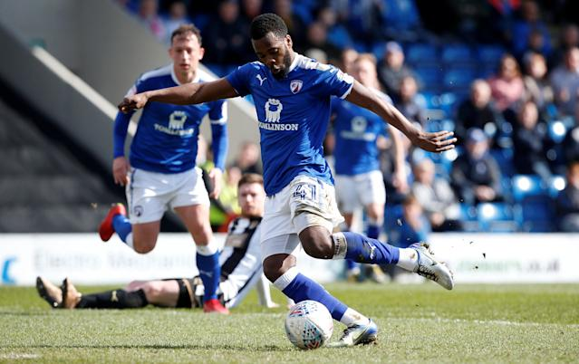 "Soccer Football - League Two - Chesterfield vs Notts County - Proact Stadium, Chesterfield, Britain - March 25, 2018 Chesterfield's Zavon Hines scores his sides second goal Action Images/Craig Brough EDITORIAL USE ONLY. No use with unauthorized audio, video, data, fixture lists, club/league logos or ""live"" services. Online in-match use limited to 75 images, no video emulation. No use in betting, games or single club/league/player publications. Please contact your account representative for further details."