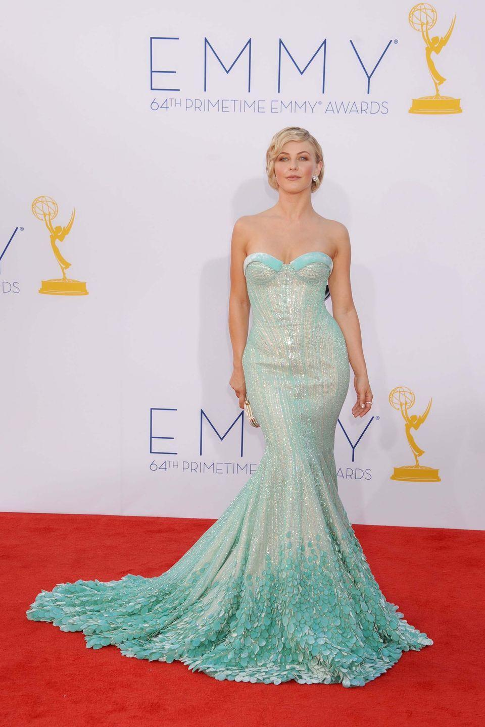 <p>While <em>Dancing with the Stars</em>' Julianne Hough might have been going for more of a Grace Kelly vibe at the 2012 Emmy Awards, this sparkly green mermaid gown by Georges Hobeika makes us think of Ariel.</p>