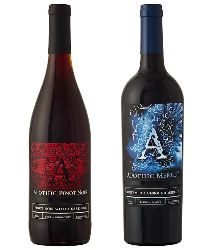"""<p>Trade in your usual red lipstick for a bottle of red and call your Galentine's (and not your ex, please) for a virtual celebration. </p> <p><strong>Buy It! </strong>Apothic Merlot and Apothic Pinot Noir, $10.99; <a href=""""https://www.apothic.com/the-wines/red-wine/"""" rel=""""sponsored noopener"""" target=""""_blank"""" data-ylk=""""slk:apothic.com"""" class=""""link rapid-noclick-resp"""">apothic.com</a></p>"""