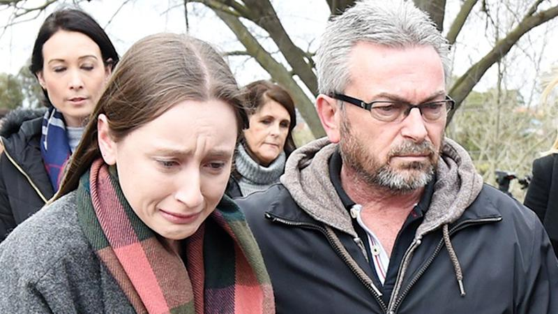 Sarah and Borce leave a press conference in which they pleaded for information which could help find the missing mum and wife. Photo: AAP