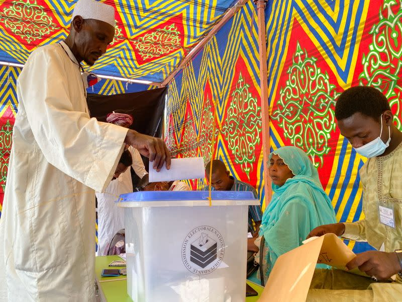 A man casts his ballot at a polling station during the presidential election in N'Djamena
