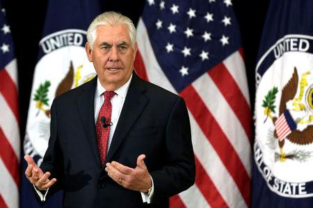 U.S. Secretary of State Rex Tillerson delivers remarks to the employees, in Washington