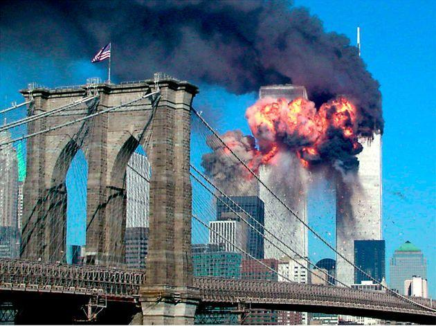 The second tower of the World Trade Center explodes into flames after being hit by an airplane in New York on Sept. 11, 2001. (Photo: Sara K. Schwittek via Reuters)