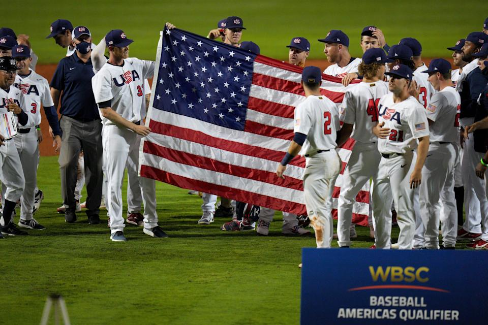 The U.S. baseball team celebrates after qualifying for the Tokyo Olympics.