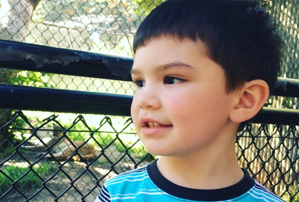 Six-year-old Aiden Leos pictured.
