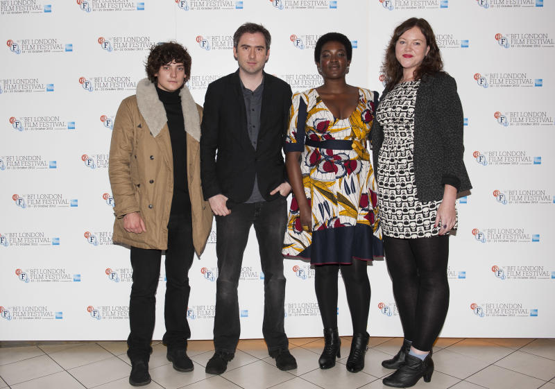 "From left, Actor Aneurin Barnard, writer and director Ciaran Foy, actress Wunmi Mosaku and producer Katie Holly arrive during the BFI London Film Festival at the premiere of ""Citadel"" on Friday, Oct. 19, 2012, in London. (Photo by Ki Price/Invision/AP)"