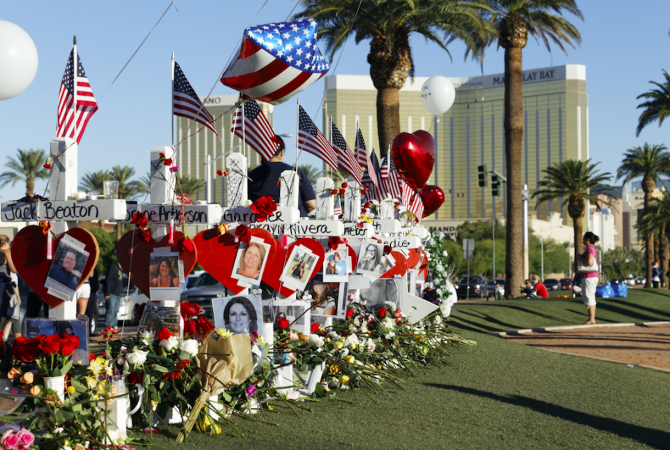 The bump stocks were used in last October's massacre in Las Vegas, which left 58 dead (Picture: Rex)