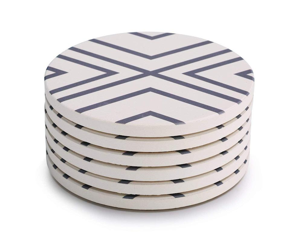 <p>Give a modern twist to your everyday kitchen accessories with this <span>Lifver Absorbent Coaster Set</span> ($12).</p>