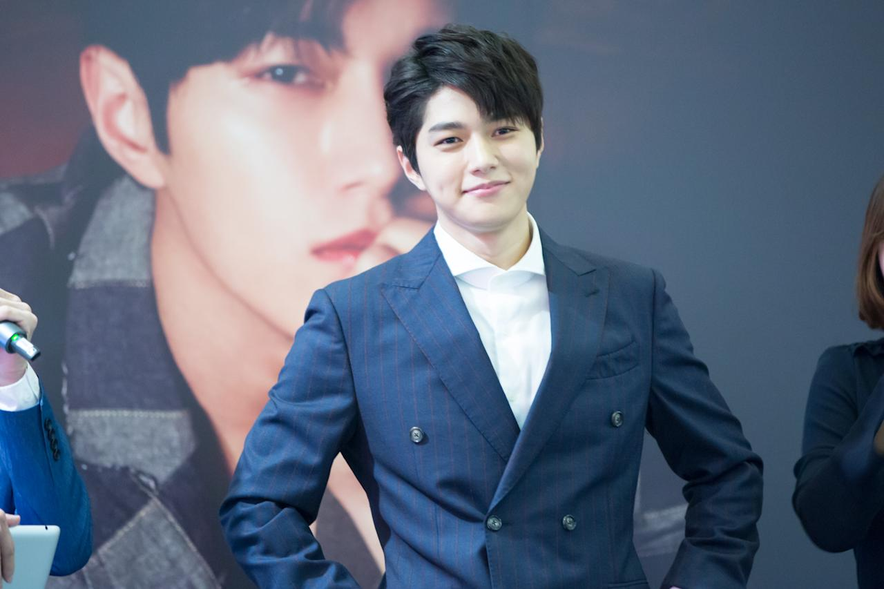 <p>INFINITE's Kim Myung-soo at a press conference in Singapore (Photo: PTO Entertainment Pte Ltd) </p>