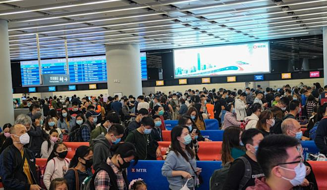 Travellers at the departure hall of the West Kowloon rail station. The first coronavirus patient in Hong Kong was detected upon arrival at the station. Photo: Handout