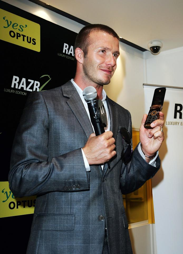 David Beckham promotes the MOTORAZR2 V8 Luxury Edition at an Optus store on November 28, 2007 in Sydney, Australia. Photo courtesy of Getty Images.