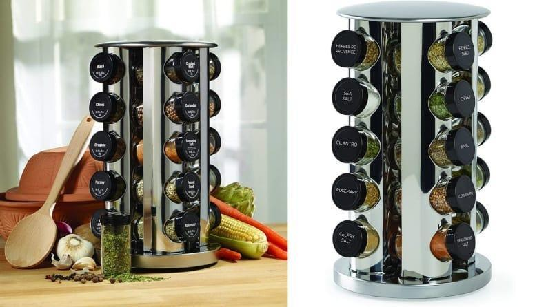 This gorgeous spice rack can fit 20 different spices.