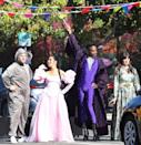 <p><em>Cinderella</em> stars James Corden, Camila Cabello, Billy Porter and Idina Menzel dress up in costume for a street performance in Los Angeles on Aug. 27.</p>