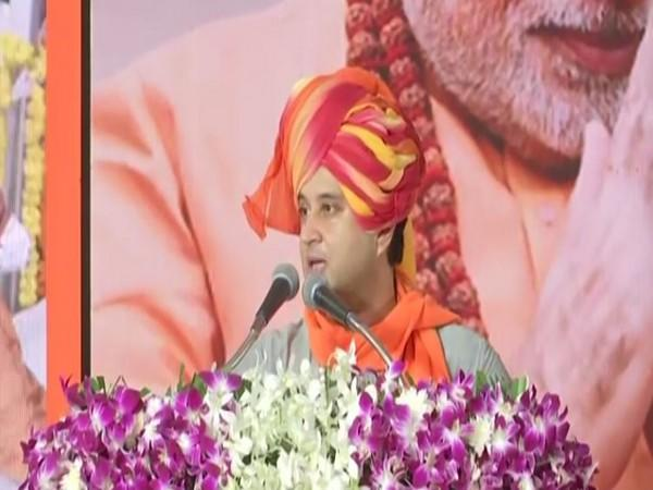 BJP leader Jyotiraditya Scindia speaking at a public meeting in Indore on Saturday. [Photo/ANI]