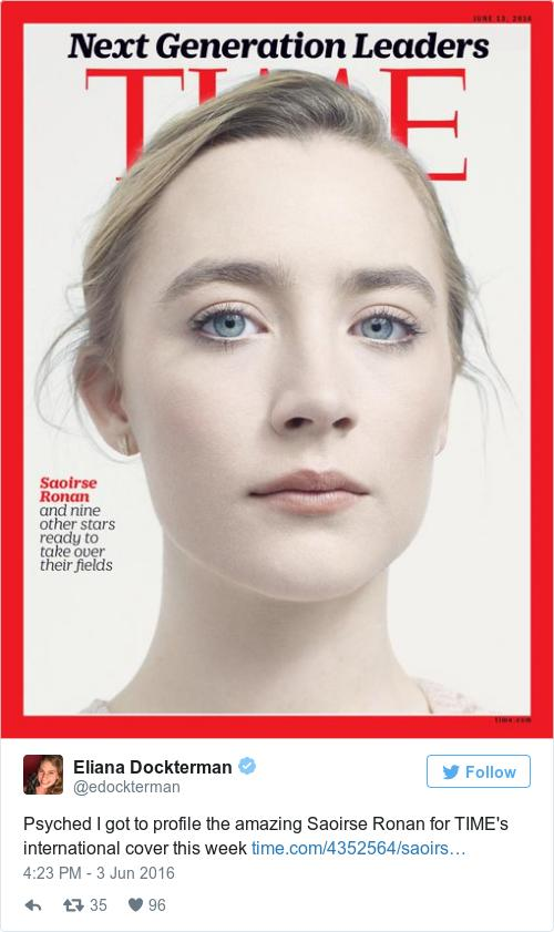 Saoirse Ronan has appeared on the cover of Time magazine