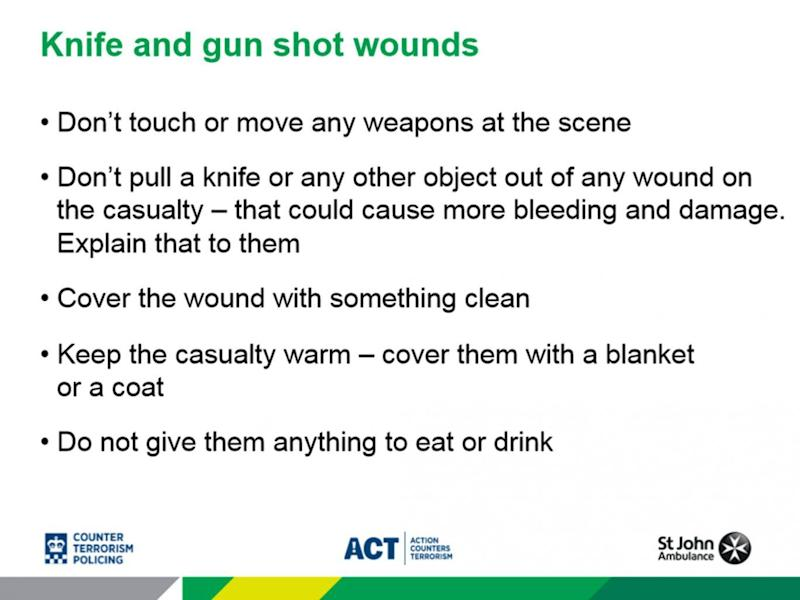 One of the slides from a first aid training presentation on terror attacks that is being rolled out by police (Action Counters Terrorism)