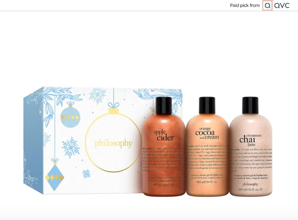 """For a bubble bath or shower time, this gift set comes with three different soaps to try out. The soaps are in """"holiday sips"""" scents, which include apple cider, chai latte, cocoa and cream. Delicious.<a href=""""qvc.uikc.net/r9OOD"""" target=""""_blank"""" rel=""""noopener noreferrer"""">Find it for $47 at QVC</a>."""