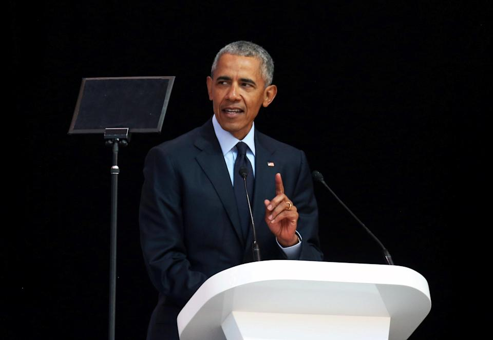Former President Barack Obama delivers a speech marking the 100th anniversary of Nelson Mandela's birth in Johannesburg on Tuesday. (Photo: Siphiwe Sibeko/Reuters)