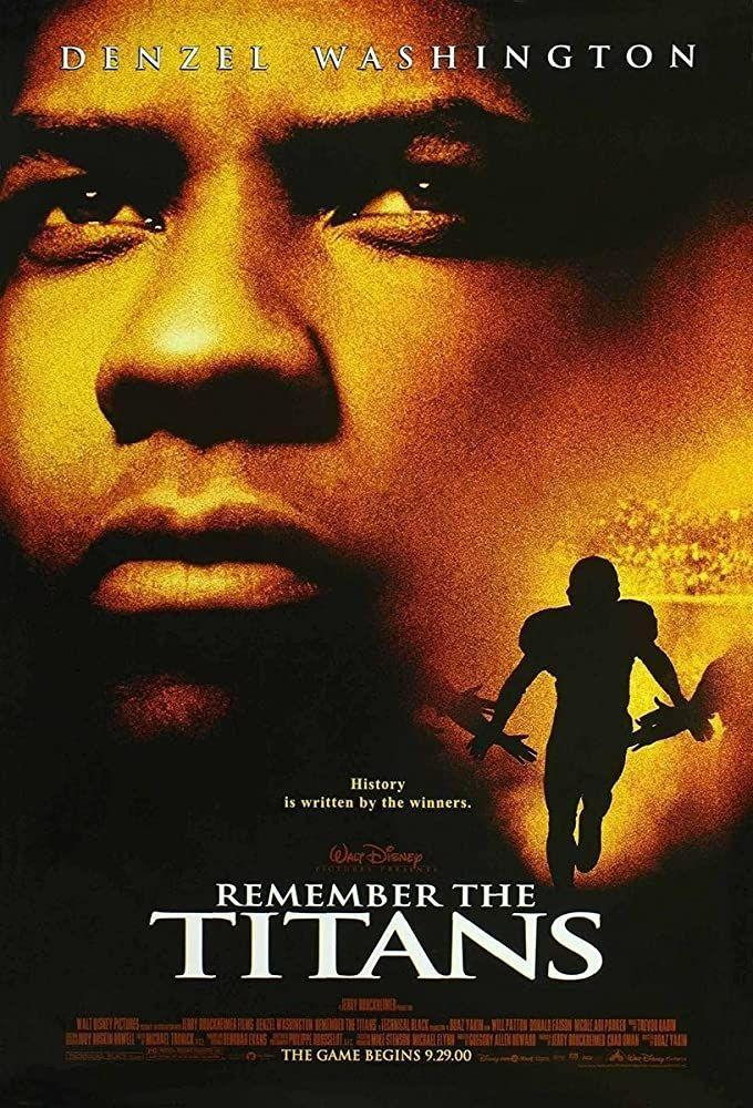 """<p>In 1971, coach Herman Boone (Denzel Washington) integrates a high school football team in Virginia. Though it gets off to a rough start (bit of an understatement), the movie shows how teamwork can literally make the dream work. It also convinced me a singalong to """"Ain't No Mountain High Enough"""" is<em> the</em> only way to break the ice.</p><p><a class=""""link rapid-noclick-resp"""" href=""""https://www.amazon.com/Remember-Titans-Denzel-Washington/dp/B003QSNFMI?tag=syn-yahoo-20&ascsubtag=%5Bartid%7C10063.g.36572054%5Bsrc%7Cyahoo-us"""" rel=""""nofollow noopener"""" target=""""_blank"""" data-ylk=""""slk:Watch Here"""">Watch Here</a></p>"""