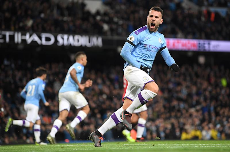 MANCHESTER, ENGLAND - DECEMBER 07: Nicolas Otamendi of Manchester City celebrates after scoring his team's first goal during the Premier League match between Manchester City and Manchester United at Etihad Stadium on December 07, 2019 in Manchester, United Kingdom. (Photo by Michael Regan/Getty Images)