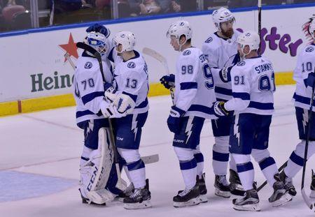 Feb 10, 2019; Sunrise, FL, USA; Tampa Bay Lightning players celebrate after defeating the Florida Panthers at BB&T Center. Mandatory Credit: Steve Mitchell-USA TODAY Sports