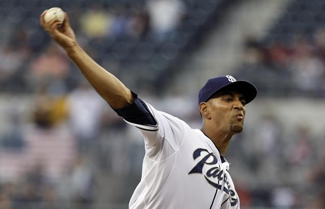 San Diego Padres starting pitcher Tyson Ross throws against the New York Mets in the first inning of a baseball game, Thursday, Aug. 15, 2013, in San Diego. (AP Photo/Lenny Ignelzi)