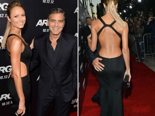 Stacy Keibler and George Clooney step out at the 'Argo' Los Angeles Premiere in Beverly Hills, Calif. on October 4, 2012 -- Getty Images