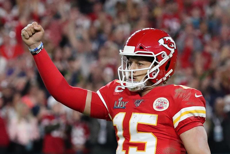 Kansas City Chiefs' Patrick Mahomes celebrates during the game