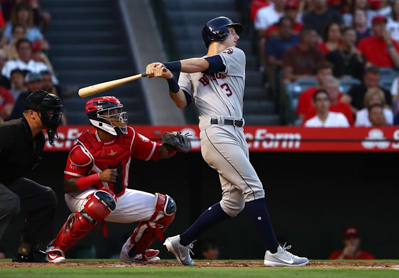 ANAHEIM, CA - JULY 20: Kyle Tucker #3 of the Houston Astros bats in the second inning during the MLB game against the Los Angeles Angels of Anaheim at Angel Stadium on July 20, 2018 in Anaheim, California. The Astros defeated the Angels 3-1. (Photo by Victor Decolongon/Getty Images)