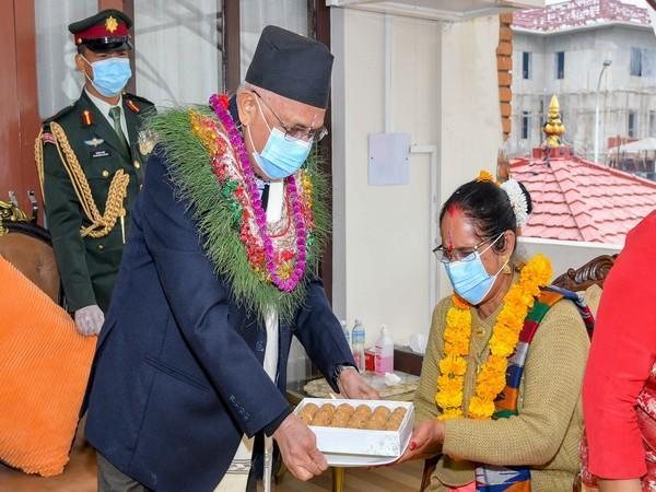 Nepal Prime Minister KP Sharma Oli receiving tika from his sisters in Nepal on Monday.