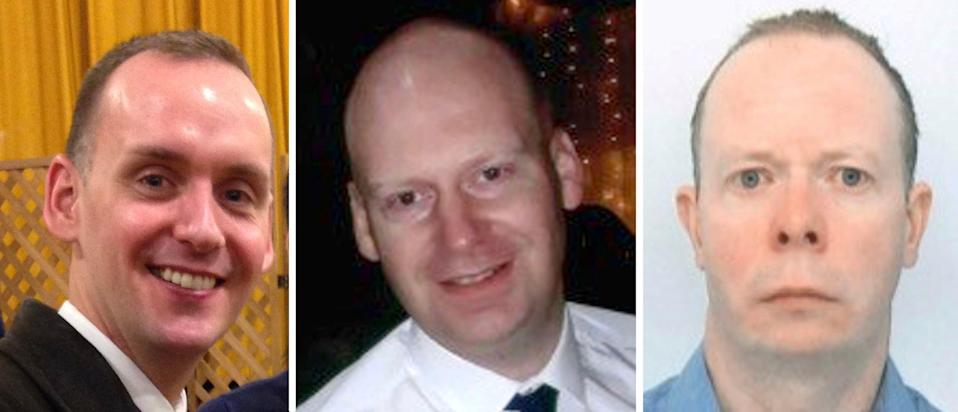Joe Ritchie-Bennett, James Furlong and David Wails, the three victims of the Reading terror attack (PA)