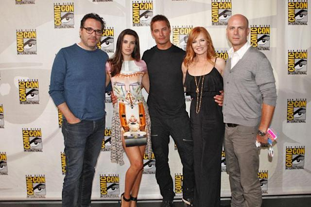"Producer Michael Seitzman, actors Meghan Ory, Josh Holloway, Marg Helgenberger and producer Tripp Vinson at the ""Intelligence"" panel during Comic-Con International 2013 at San Diego Convention Center on July 18, 2013 in San Diego, California."