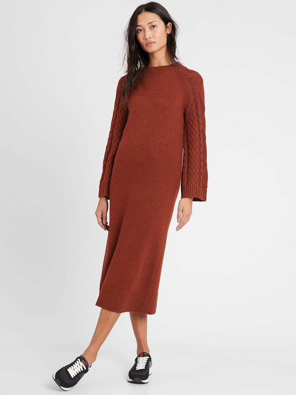 <p>This <span>Cable-Sleeve Sweater Dress</span> ($111, originally $139) also comes in cream.</p>