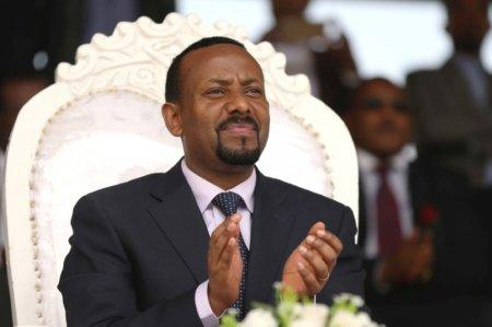 FILE PHOTO: Ethiopia's new prime minister Abiy Ahmed attends a rally during his visit to Ambo in the Oromiya region, Ethiopia April 11, 2018. REUTERS/Tiksa Negeri/File Photo