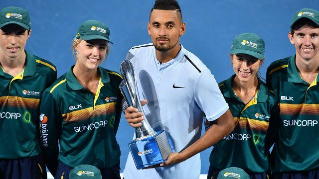 Issy and Nick Kyrgios at the Brisbane International. Image: Getty